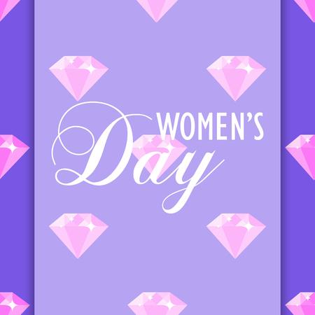Womens day diamond pattern on purple background.