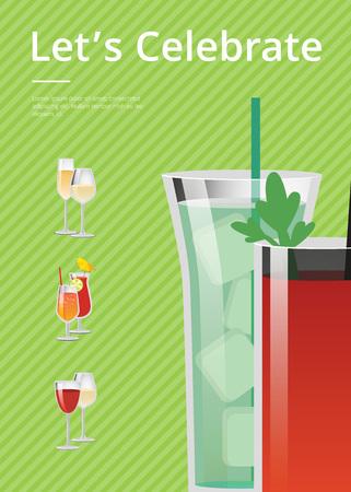 Let s Celebrate Card Colorful Vector Illustration