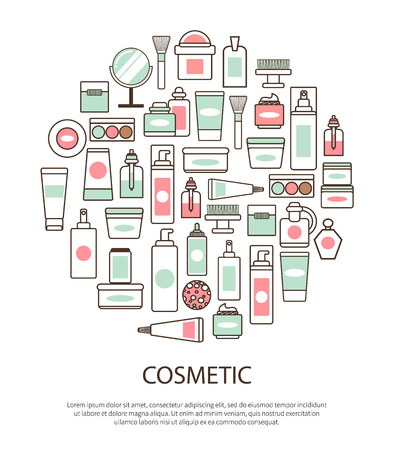 Cosmetic collection with text vector illustration.