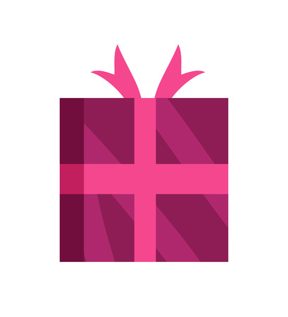 Wrapped gift glossy wrapping pink paper with bow. Illustration