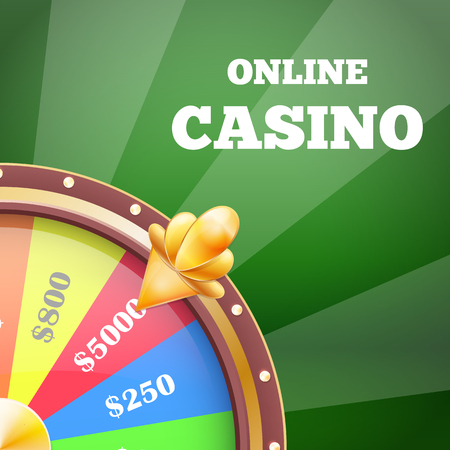Online Casino and Wheel Banner Vector Illustration
