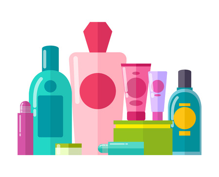 Containers and Tubes Poster Vector Illustration Illustration