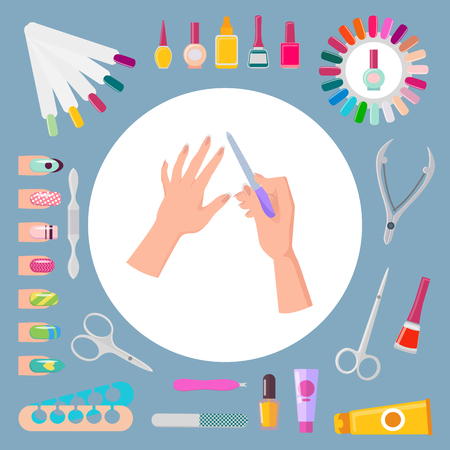 Nail Art and Instruments Set Vector Illustration