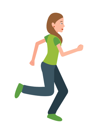 Woman Jogging Vector Teenager in Sport Apparel