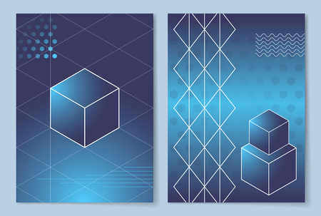 Geometric Shapes Posters Set Vector Illustration Çizim