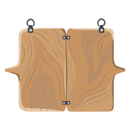 Wooden board with fastener vector illustration. Illustration