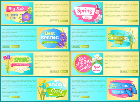 Spring sale off set of advertisement labels flower. Archivio Fotografico - 96618877