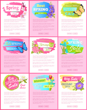 Springtime Blooming Promo Emblems on Landing Pages Vector illustration. Archivio Fotografico - 96493680