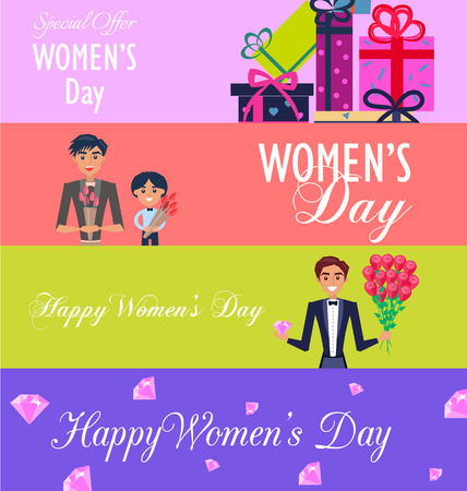 Special Offer flyers template for Happy Womens Day Illustration