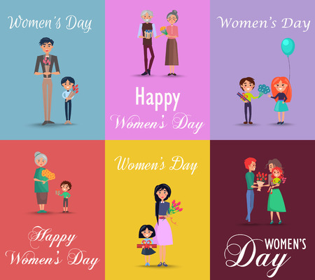Six posters on Womens day with gifts and flowers.  イラスト・ベクター素材
