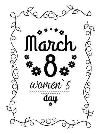 Womens day March 8 greeting card design, framing made of leaves and black text vector illustration congratulation poster for girls isolated on white Çizim