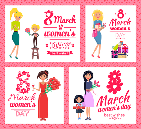 8 March, Womens Day best wishes vector illustration.