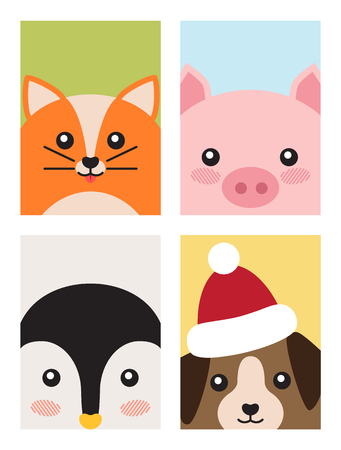 Cat and Pig, Penguin and Dog Vector Illustration