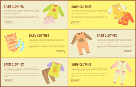 Baby Clothes Web Pages Set Vector Illustration