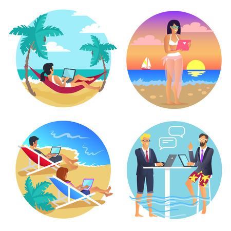 Business Summer Seaside Set Vector Illustration