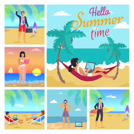 Hello Summer Time Colorful Vector Illustration