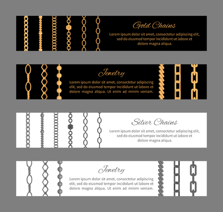 Gold Silver Chains and Jewelry Vector Illustration 일러스트