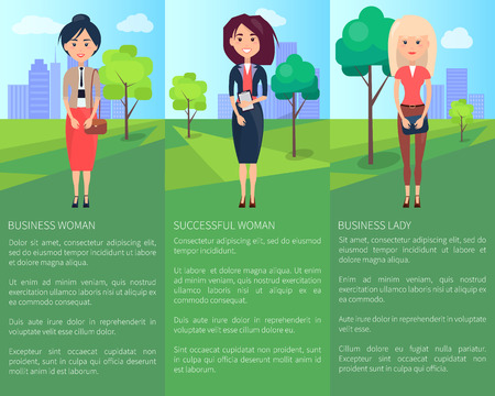 Successful Lady Business Woman Colorful Banner