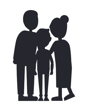 Family Silhouette Isolated on White Background