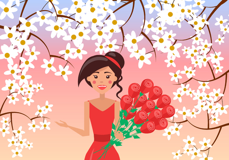 Elegant woman with big bouquet of roses on floral background.