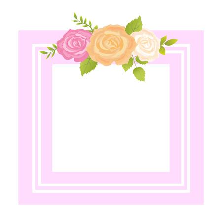 Pink, Orange and Beige Rose Flower Photo Frame