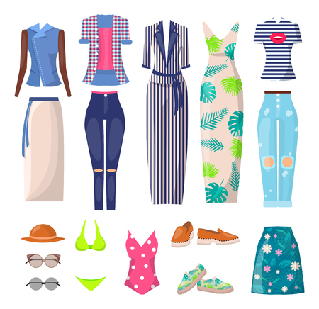Summer Mode Clothing Set, Vector Illustration