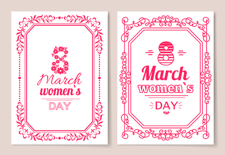 Women's Day postcard with big sign and swirly frame.