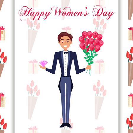 タキシードの男性とハッピー女性の日グリーティングカード