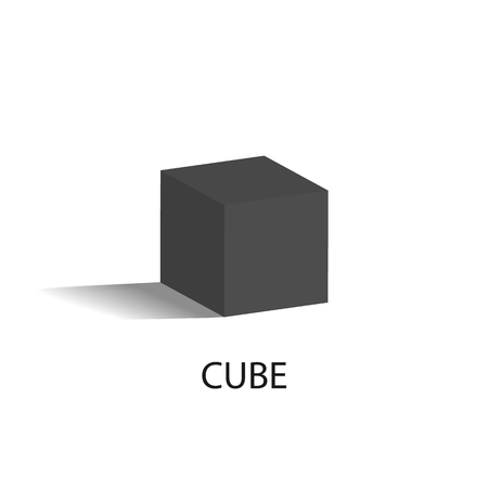 Cube Isolated Geometric Figure of Black Color