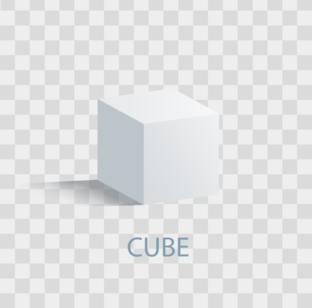 Cube, isolated geometric figure of white color on transparent background. Çizim