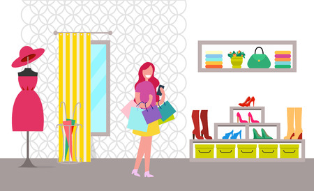 Happy Woman with Purchases in Bright Clothes Store