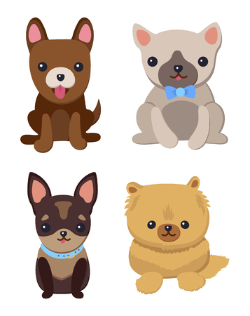 Dogs and Puppies Set Poster Vector Illustration Archivio Fotografico - 96687908