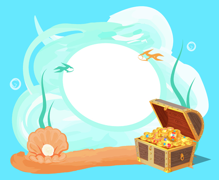 Sea and Treasures Poster, Vector Illustration