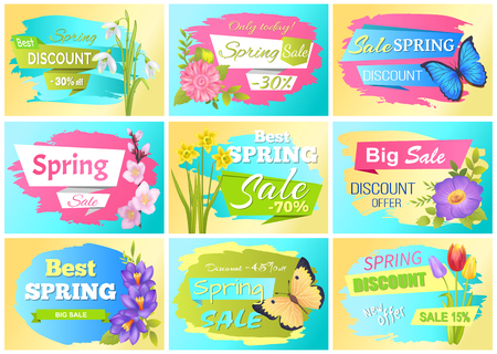 Set of spring labels discount stickers