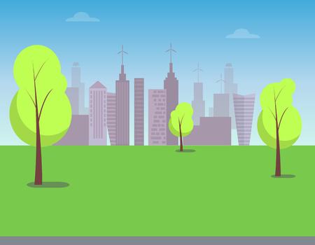View on Modern City From Green Park, Color Poster Vector illustration. Stock Vector - 96612138