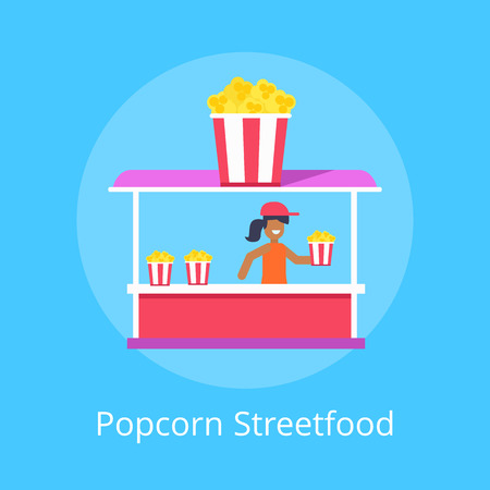 Popcorn Street Food Stall, Vector Illustration