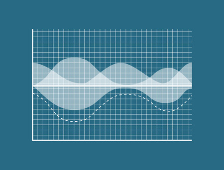 Transparent Graph Isolated on Blue Background Vector illustration.