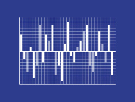 Bars on Coordinate System that Show Statistic Data Vector illustration.