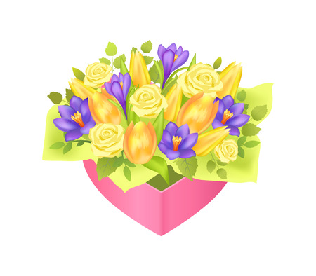 Beautiful bouquet with cute green wrapping paper vector illustration isolated on white backdrop pink festive box yellow roses and tulips, lilac irises