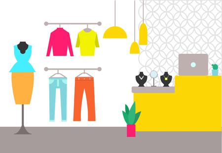 Kledingwinkel interieur poster en truien broeken en pak balie met laptop en sieraden kledingwinkel en lampen geïsoleerd op vectorillustratie