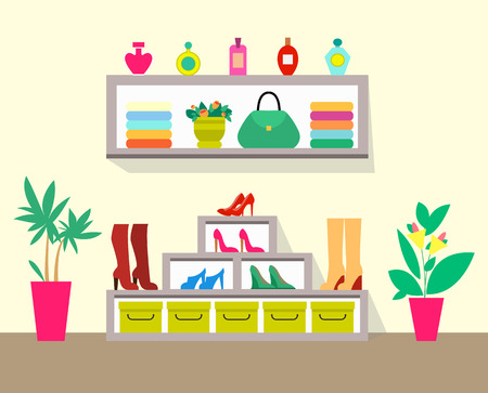 Cute store with pretty interior, colorful poster, vector illustration with grey shelf and rack with row of shoes and perfumes, handbag and flowers Vettoriali