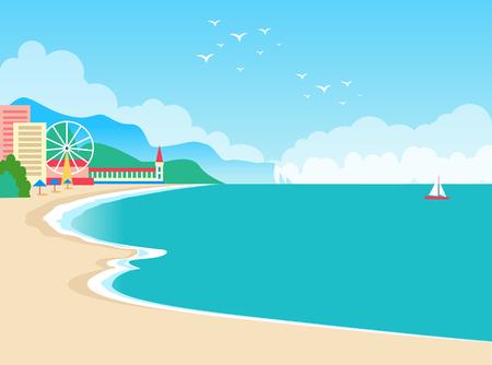 European Resort Summer Poster Vector Illustration Illustration