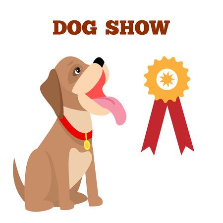 De hond toont Kleurrijke Banner, Vectorillustratie