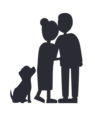 Married People and their Puppy, Family Poster Vector illustration.