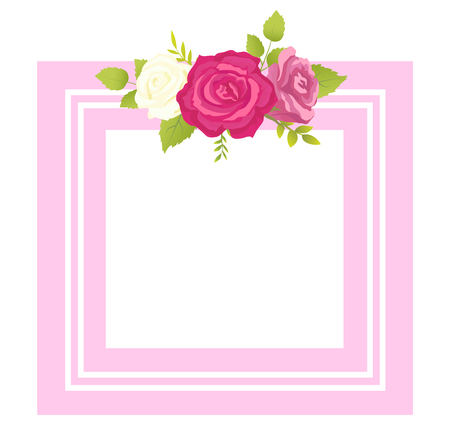 Rose white pink purple flowers photo frame greeting card design with place for text, square border with blooming summertime flowers vector illustration
