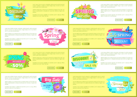 Best offer spring big sale advertisement daisy pink and yellow flowers vector illustration web posters set. Promo sticker with springtime blossoms Archivio Fotografico - 96601211