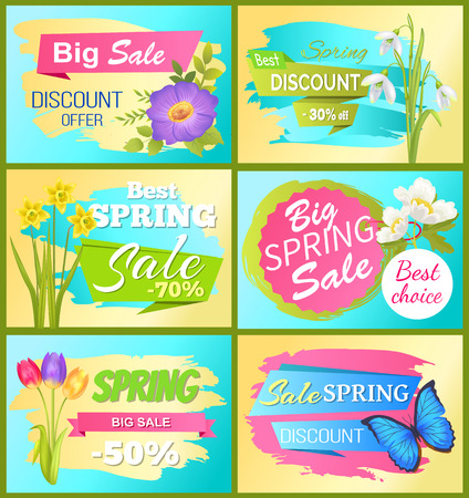 Set of spring sale advertisement tag labels with daisy flower, bouquets of snowdrops, tulips and daffodils, anemone and butterfly on stickers vector Иллюстрация
