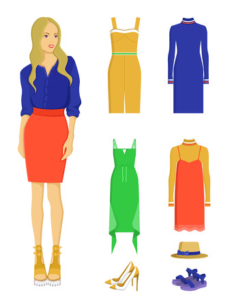 Stylish Woman with Elegant Summer Clothes Set Vector illustration.
