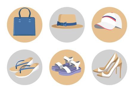 Handbag and Hats, Vogue Shoes Set, Colorful Card Vector illustration.