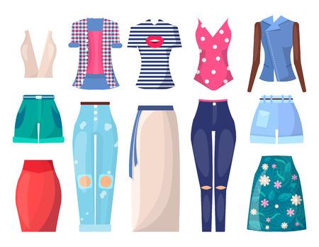Conjunto de ropa e ilustración de Vector de modo de verano Foto de archivo - 96612317
